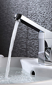 Pia Single Handle Uma Abertura in Cromado Torneira pia do banheiro