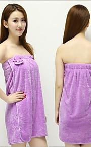 1個新しい女性の女性のサンゴのベルベットのソフトブラの弓のバスバスローブタオルのスカートのドレス