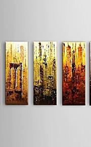 Peint à la main Abstrait Modern,Cinq Panneaux Peinture à l'huile Hang-peint