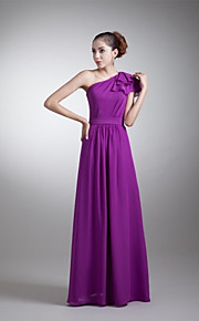Floor-length Chiffon Bridesmaid Dress A-line One Shoulder with Side Draping