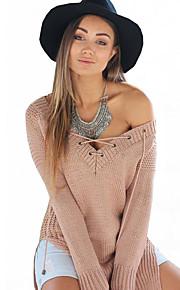 Damen Pullover - Sexy / Einfach Polyester Mittel Langarm