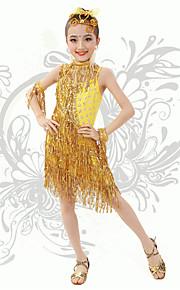 Latin Dance Children's Fashion Performance Spandex Sequins / Tassel(s) Dresses