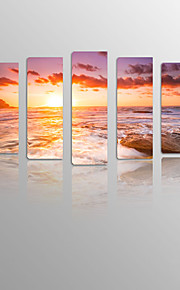 Sunrise With Sea on Canvas wood Framed 5 Panels Ready to hang for Living Decor