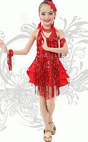 Latin Dance  Children's Performance Spandex Sequins / Tassel(s) V Neck Halter Dresses