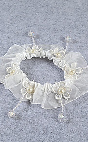 Garter Stretch Satin / Lace Flower / Beading Ivory