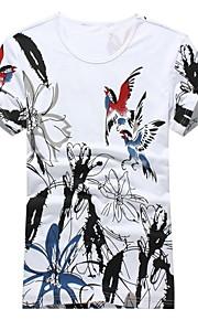 남성의 캐쥬얼 / 작업/오피스 / 스포츠 티셔츠 짧은 소매 프린트 면