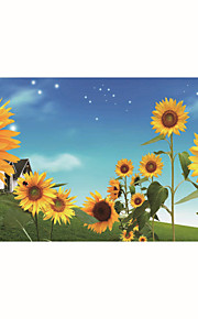 JAMMORY Mural Art Deco Wallpaper Contemporary Wall Covering,Canvas Yes Large Mural Yellow Sunflower Blue Background