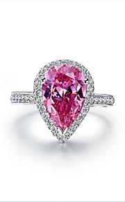 7 * 9mm 2ct Birnenform Diamantring für Frauen Sterling Silber weibliche Halogen Engagement sona Diamant-rosa Ring S925