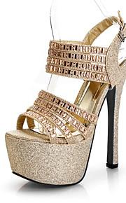 Chaussures Femme-Mariage / Décontracté / Soirée & Evénement / Habillé-Noir / Argent / Or-Talon Aiguille-Talons-Sandales-Paillette