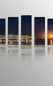 Night Scenery of Coastal City on Canvas wood Framed 5 Panels Ready to hang for Living Decor