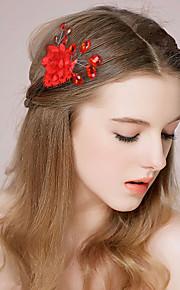 Capacete Pentes de Cabelo / Clip para o Cabelo Casamento / Ocasião Especial Cetim / Imitação de Pérola Mulheres / Menina das Flores