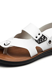 Men's Shoes Leather Outdoor / Casual Sandals Outdoor / Casual Sports Sandals Flat Heel Hollow-out Brown / White