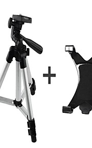 aluminiumlegering statief met 1/4 '' schroef + ipad klem + telefoon klem voor camera of telefoon en pc webcam