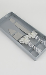 Wedding Accessories Butterfly Handle Cake Knife And Server Set with Lace Heart Rhinestone,White