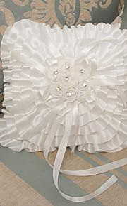 White Ring Pillow Satin Beach Theme / Vegas Theme / Classic Theme With Ribbons(18*17*15cm)