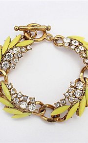 European And American Fashion Leaves Diamond Bracelet