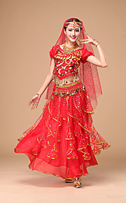 Belly Dance Women's Performance Chiffon Pleated / Sequins 3 Pieces Outfits