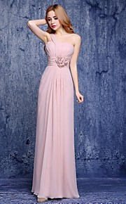 Floor-length Chiffon Bridesmaid Dress A-line One Shoulder with Flower(s)