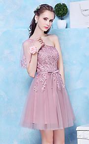 Short / Mini Tulle Bridesmaid Dress A-line One Shoulder with Appliques / Sash / Ribbon