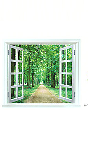 Fashion Landscape False Window Forest Road Wall Stickers Removable Bedroom Living Room PVC Wall Decals