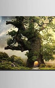 E-HOME® Stretched LED Canvas Print Art Tree House Under The Stars LED Flashing Optical Fiber Print One Pcs