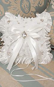 White Ring Pillow Satin Beach Theme / Vegas Theme / Classic Theme With Ribbons(22*19*18cm)