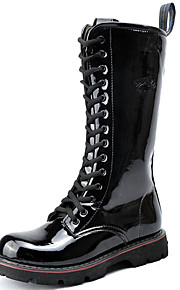 Men's Shoes Customized Materials Party & Evening / Casual Boots / Casual Snow Boots Chunky Heel Lace-up Black
