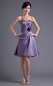 Knee-length Satin Bridesmaid Dress A-line Sweetheart with Flower(s) / Side Draping