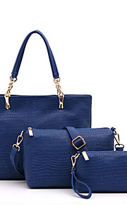 Women-Casual / Office & Career / Shopping-PU-Tote-Blue / Red / Black