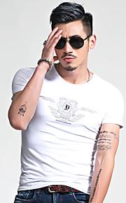남성의 캐쥬얼 / 플러스 사이즈 티셔츠 짧은 소매 프린트 면 / 폴리에스테르