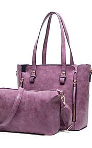 Women-Formal / Casual / Office & Career / Shopping-PU-Tote-Purple / Blue / Green / Gray