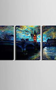E-HOME® Stretched LED Canvas Print Art  European Urban Landscape LED Flashing Optical Fiber Print Set of 3