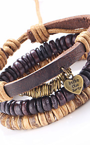 Punk Adjustable Retro Heart Pendant Waxed Cord Hand-woven Leather Bracelet 3 pairs