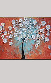 Handpainted Painted Thick Oil Painting White Life Tree Flowers with Stretched Framed