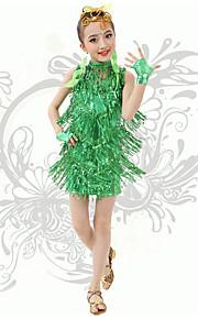 Latin Dance Children's Performance Spandex V Neck Sequins / Tassel(s) Dresses