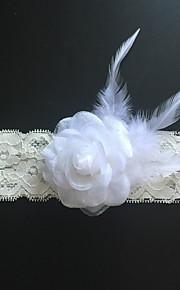 Garter Stretch Satin Flower / Feather Ivory
