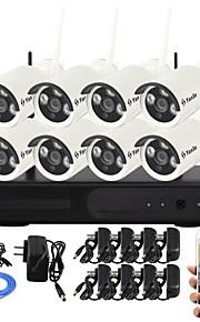 yanse® 1.0Mp visão noturna ip câmera de segurança wi-fi sistema de CCTV NVR kit ir sem fios PNP (8pcs / HDMI / 720p / p2p)