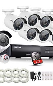 annke® 8-kanaals CCTV nvr systeem poe nvr 1080p video ourput 1080p 2.0W weerbestendige cctv ip camera beveiligingssysteem 2tb hdd