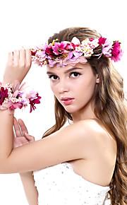 Women's Polyester / Fabric Headpiece-Wedding / Outdoor Elegant Handmade Birdal Wreaths with Wrist Flower