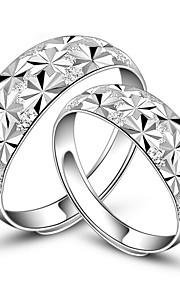 Alliances Amoureux Sans pierre Argent Argent Ajustable Argent La couleur d'embellissement est présentée comme l'image