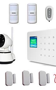 draadloze lcd voice gsm alarm alarme systemen veiligheid huis met mini video ip camera IPcam wi-fi 720p ptz micro sd-slot