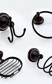 Set di accessori per il bagno / Portasciugamani a muro / Appendi-accappatoio / Portasapone / Portasapone da doccia / Bronzo lucidato / A