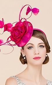 Femme / Jeune bouquetière Plume / Lin Casque-Mariage / Occasion spéciale / Décontracté Coiffure / Chapeau 1 Pièce Fleur None