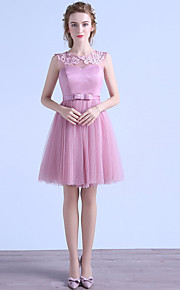 Knee-length Tulle Bridesmaid Dress A-line Jewel with Appliques / Sash / Ribbon
