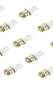 youoklight® 10stk t10 2.5W 220lm 24-SMD 1206 6000K hvid førte bil pære (12V)