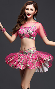 Belly Dance Outfits Women's Performance Tulle / Milk Fiber Pattern/Print 3 Pieces Blue / Orange / Red Short Sleeve