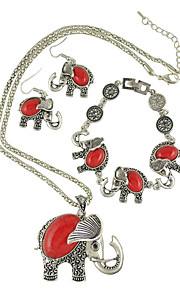 Европейский стиль моды богемной этнических старинных бирюзовый слон ожерелье браслет серьги наборы