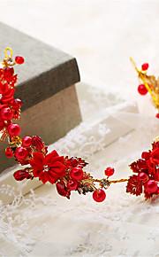 Mulheres / Menina das Flores Pérola / Strass / Liga Capacete-Casamento / Ocasião Especial Tiaras 1 Peça Vermelho Irregular 34