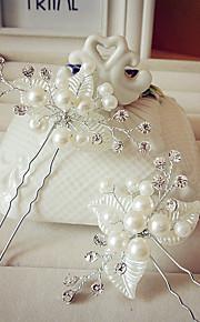 Femme Strass / Laiton / Imitation de perle Casque-Mariage Epingle à Cheveux 1 Pièce Blanc Rond 19