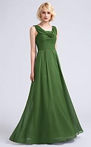Lanting Bride Floor-length Chiffon Bridesmaid Dress A-line Cowl with Ruching